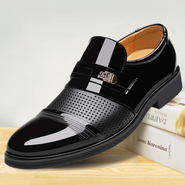 Luxury Brand PU Leather Fashion Men Business Dress Loafers Pointed Toe Black Shoes Oxford Breathable Formal Wedding Shoes 698