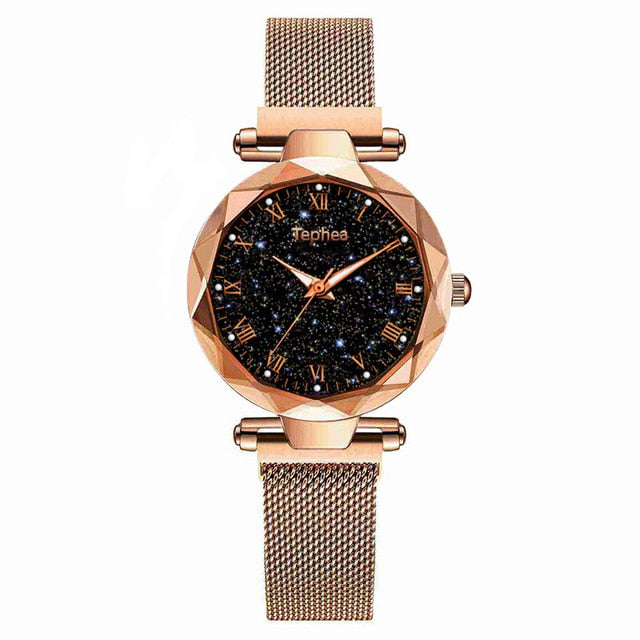 Ladies Wrist Watch Starry Sky Magnetic