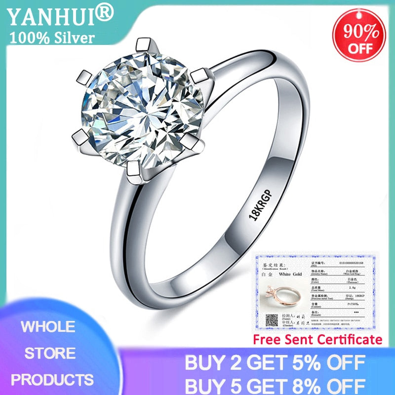YANHUI With Certificate Luxury Solitaire 2.0ct Wedding Ring Original