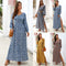 Women V-neck Long Sleeve Boho Holiday Dress Floral Print Puff Sleeve Button Vintage Maxi Dress Evening Party Dresses - Any.shopping