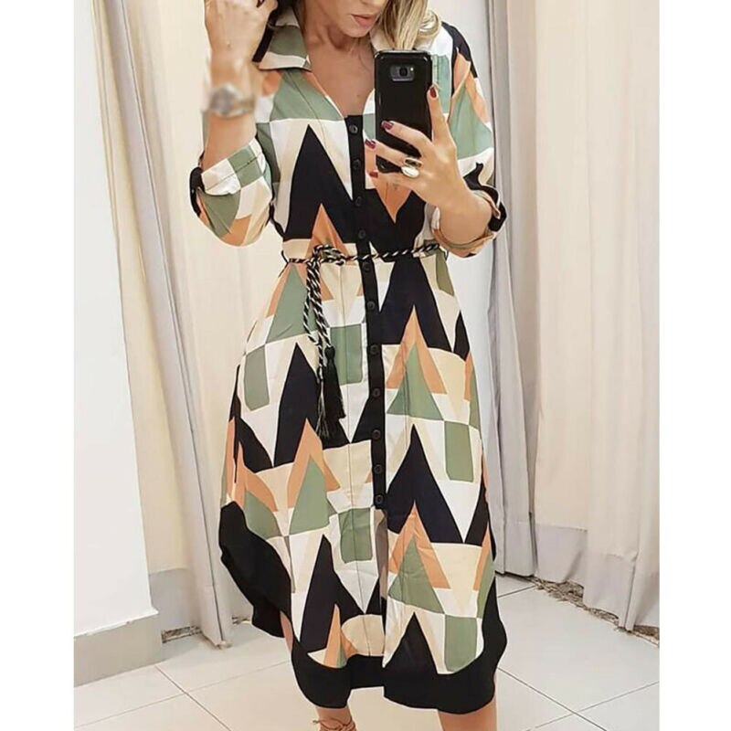 Brand New Women's Dresses Ladies Long Sleeve V-neck Casual Loose Tunic Dresses Button Long Patchwork Irregular Fashion Hot 2019