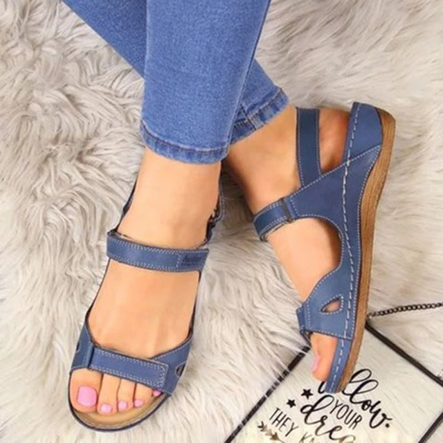 Women Sandals Soft Three Color Stitching Ladies