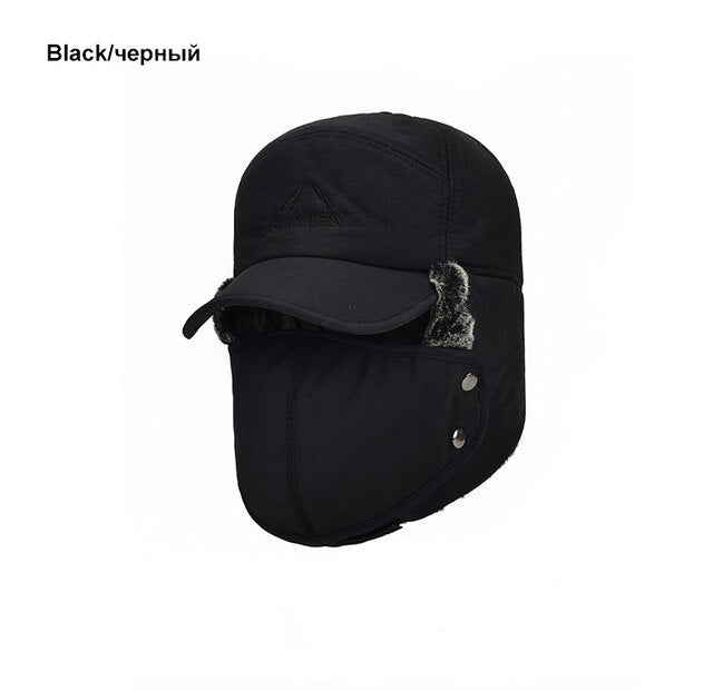 FAVOCENT Men's Ear Protection Face Bomber Hats Thicker Plus Velvet