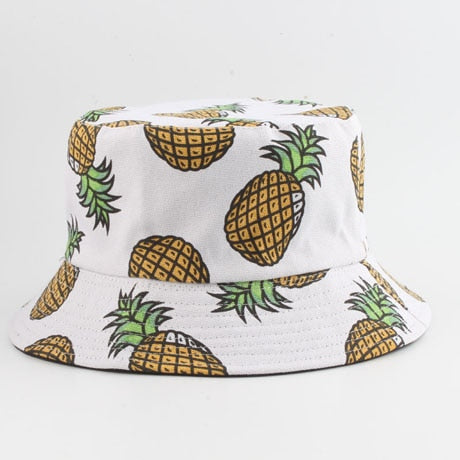 Panama Bucket Hat Men Women Summer Bucket Cap Banana Print Bob