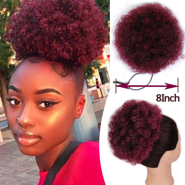 HOUYAN Short Afro Puff Synthetic Hair Chignon Hairpiece For Women