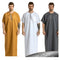 Muslim Jubba Thobe Kaftan Men Abaya Print Short Sleeve Retro Robes