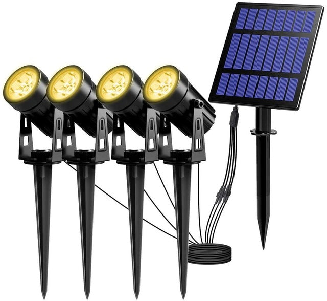 T-SUNRISE Solar Powered Spotlight 2 Warm White Lights Solar Panel
