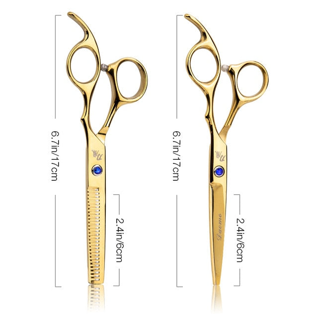 Hair Scissors 6 Inch Barber Professional hairdressing Cutting Styling Steel Thinning Scissor Hair Straight Barbershop Salon Set