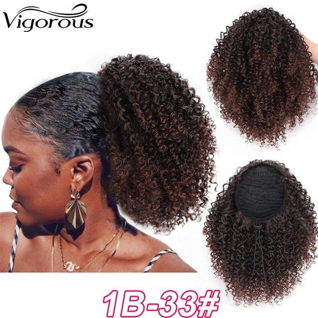 Vigorous Drawstring Puff Afro Kinky Curly Ponytail African American