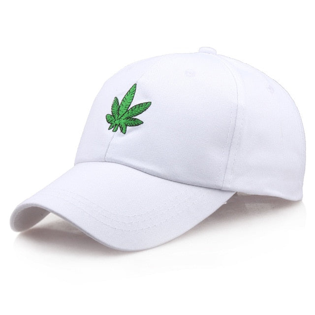 2019 New Fashion Embroidery Maple Leaf White Cap Cotton Swag