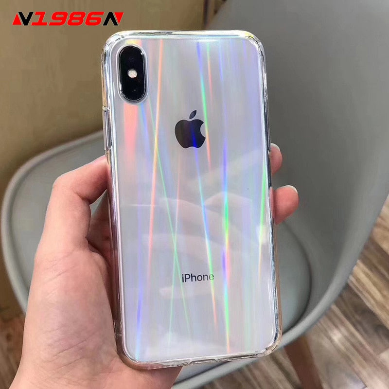 N1986N Rainbow Laser Case For iPhone SE 2020 X XR XS Max 11 Pro