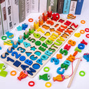 Montessori Educational Wooden Toys Children Busy Board Math Fishing