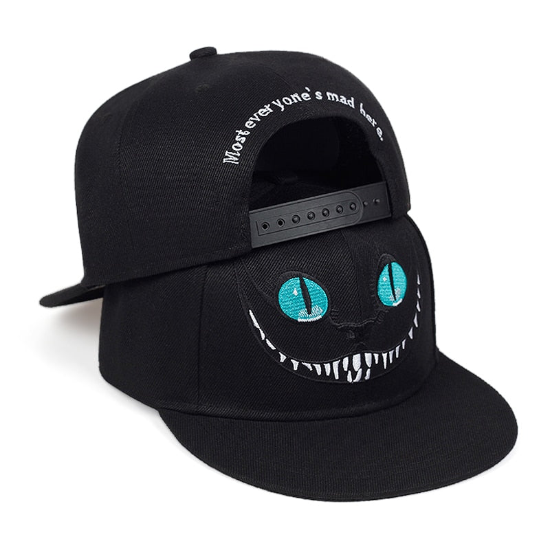 New Cheshire Cat Embroidery Baseball Cap Cute Smiley Snapback Caps