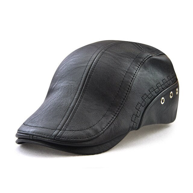 Wuaumx PU Leather Beret Hat For Men Autumn Winter Warm Newsboy