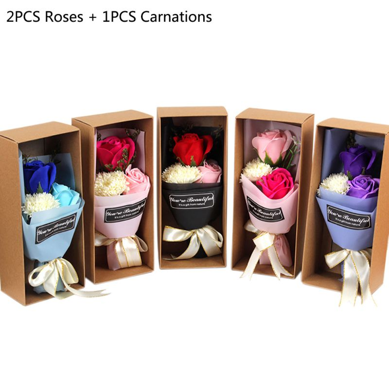3Pcs/set Artificial Flowers Scented Rose Carnation Bouquet Gift Box