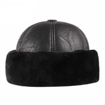 SILOQIN Middle-aged Men PU Imitation Leather Cap Winter Men's