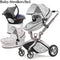 HOTMOM 3 in 1 baby Stroller high landscape Luxury baby trolley can sit