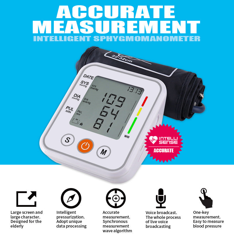 VILECO WITH voice Arm Cuff Automatic Blood Pressure Monitor household  HD Digital Display Health Care sphygmomanometer machine