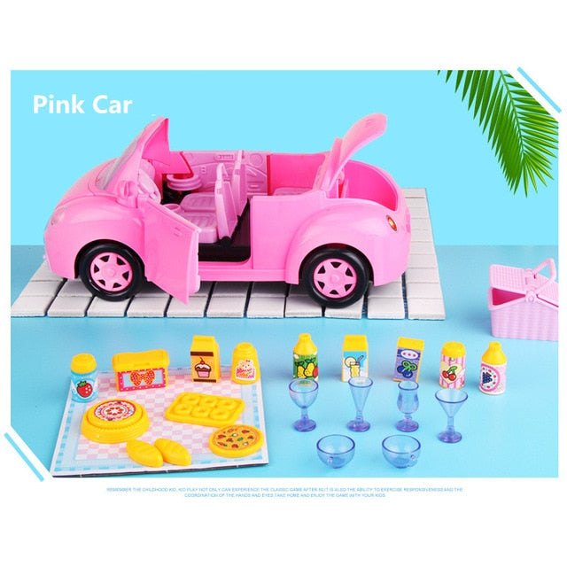 DIY Doll House For LOL Doll Convertible Picnic Car Picnic Bus Cute DollHouse Miniatures Kids Toys Girl Birthday Best Gifts