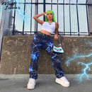 Women lightning print casual pants fashion streetwear cargo pants