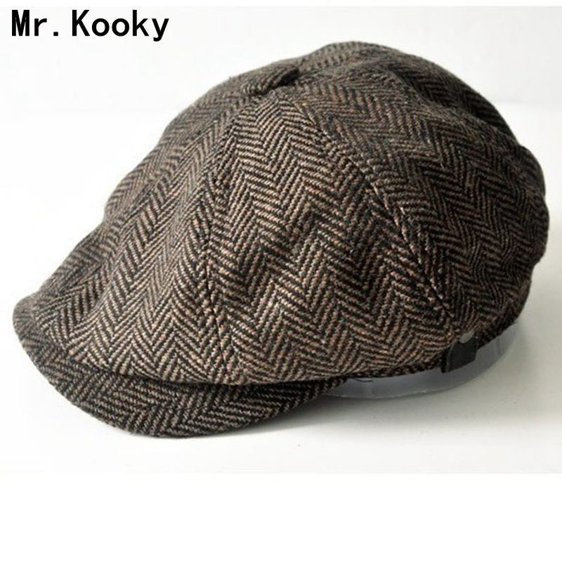 Mr.Kooky Autumn Winter British Style Gentleman Peaked Cap Warm