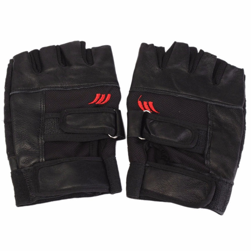 Black PU Leather Weight Lifting Gym Gloves