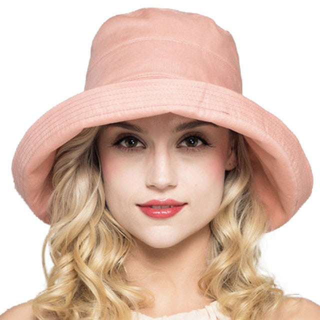 FS Summer Womens Cotton Wide Brim Sun Hats Foldable Casual