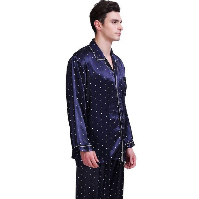 Mens Silk Satin Pajamas Set Pyjamas Set PJS Sleepwear Set Loungewear - Any.shopping