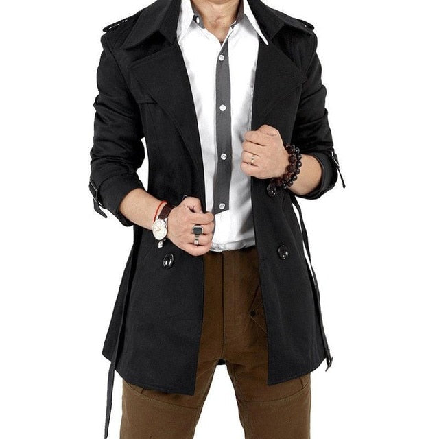 MISSKY Autumn Men Trench Windbreaker Long Solid Color Jacket