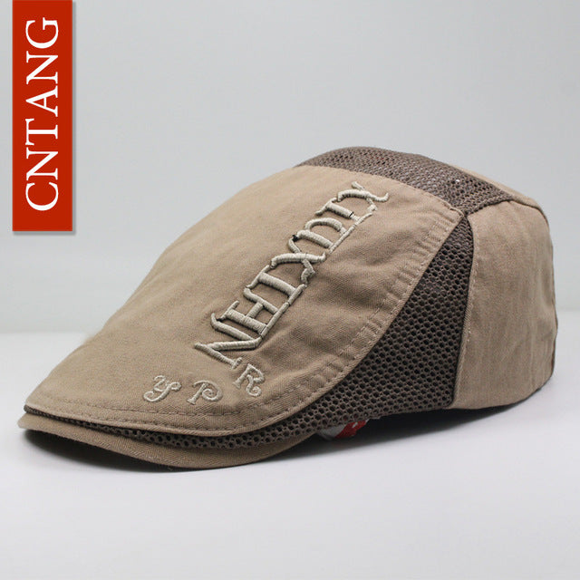 CNTANG Casual Summer Men's Mesh Beret Flat Hat Fashion Vintage