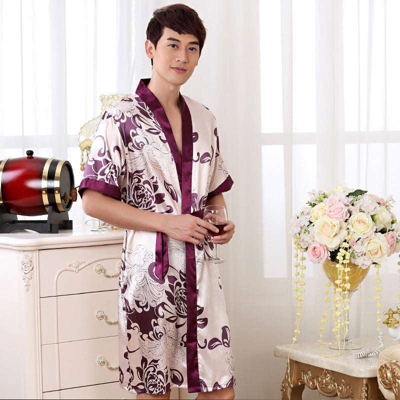 Summer Nightgown Sleepshirts Mens Robe Kimono Bath Gown Faux