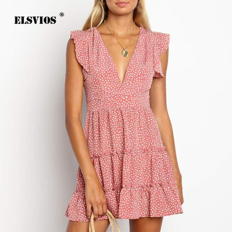 ELSVIOS Ladies V-neck Floral Print Pleated Party Dress Summer Ruffle