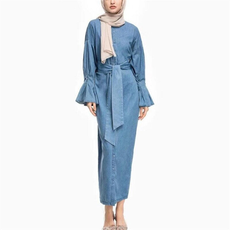 2019 Women Denim Muslim dress Abaya Kimono Dubai Dress Abayas