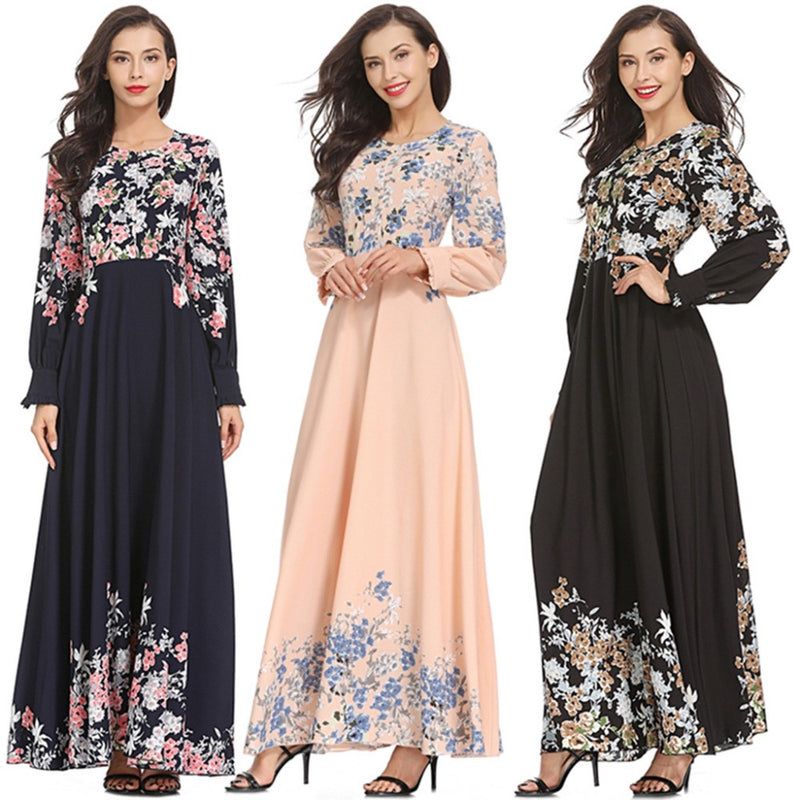 2019 Womens Muslim Loose Solid Color Robe Clothing Abaya
