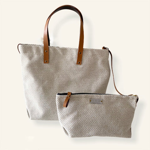 Tote Bag Lisboa Beige con neceser extraible