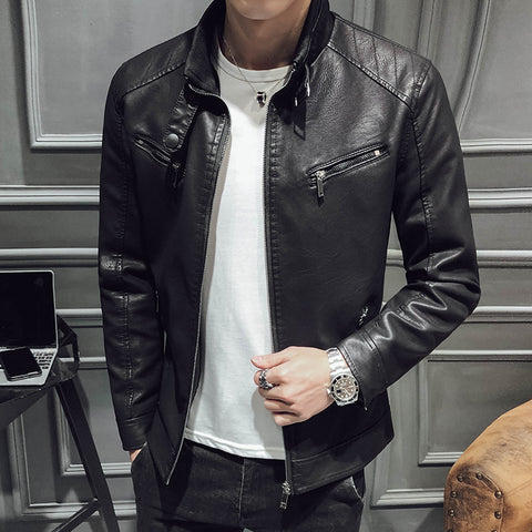 2020 Mens Leather Fleece Zipper Jacket