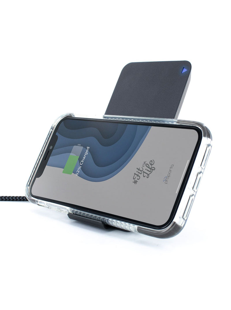Charging device in landscape mode image of the Proporta Universal wireless charger in Black