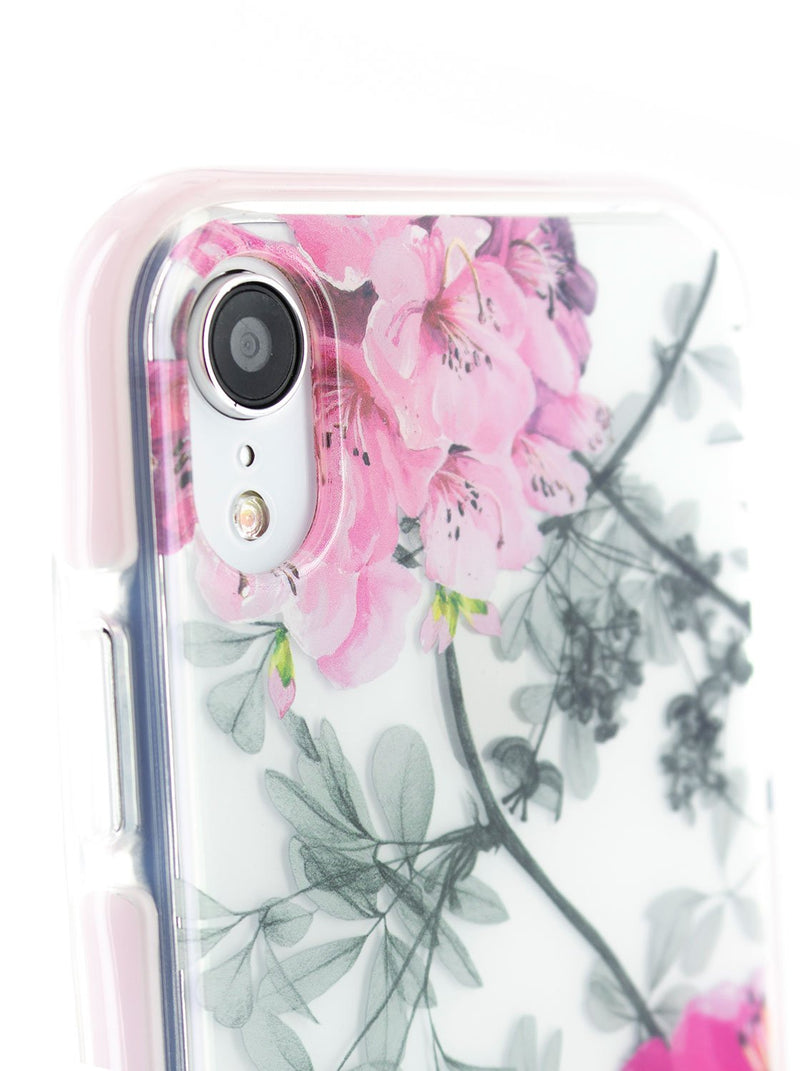 Detail image of the Ted Baker Apple iPhone XR phone case in Clear Print