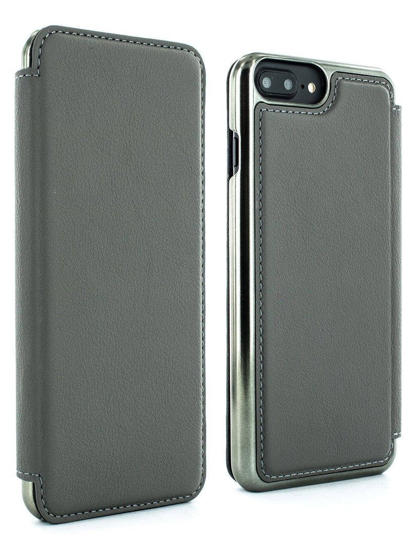 Front and back image of the Greenwich Apple iPhone 8 Plus / 7 Plus phone case in Porpoise Grey