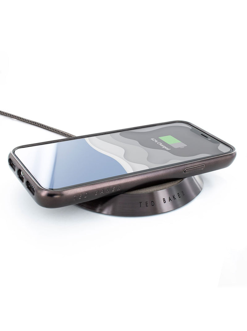 Charging device image of the Ted Baker Apple iPhone XS Max phone case in Grey