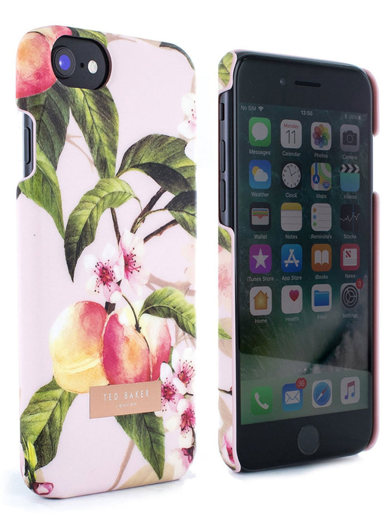 Front and back image of the Ted Baker Apple iPhone 8 / 7 / 6S phone case in Peach Blossom