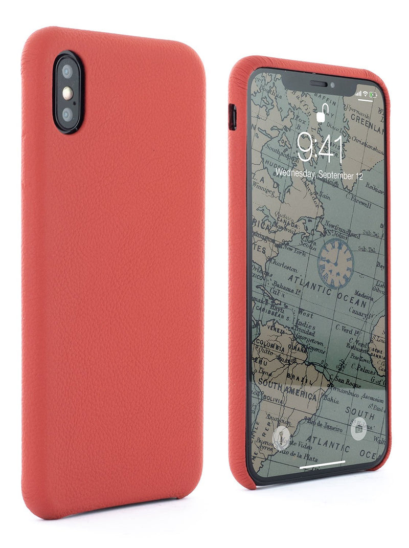 Front and back image of the Greenwich Apple iPhone XS Max phone case in Red