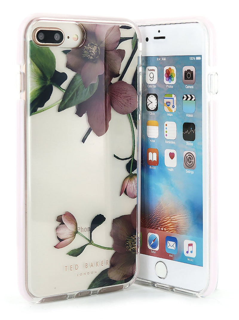 Front and back image of the Ted Baker Apple iPhone 8 Plus / 7 Plus phone case in Clear Print