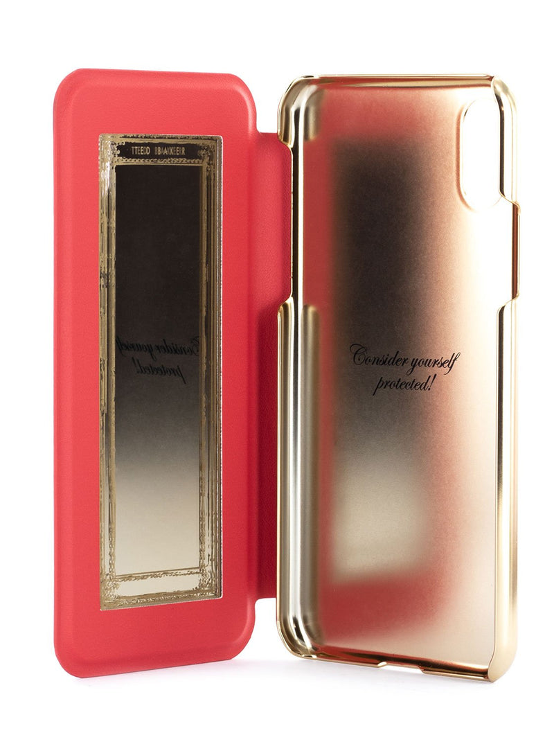 Inside image of the Ted Baker Apple iPhone XS / X phone case in Berry Sundae Red