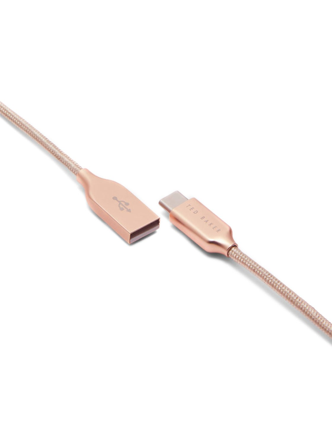 CORLIE Braided 1M USB-C to USB-A Charging Cable - Taupe Nylon / Rose-Gold