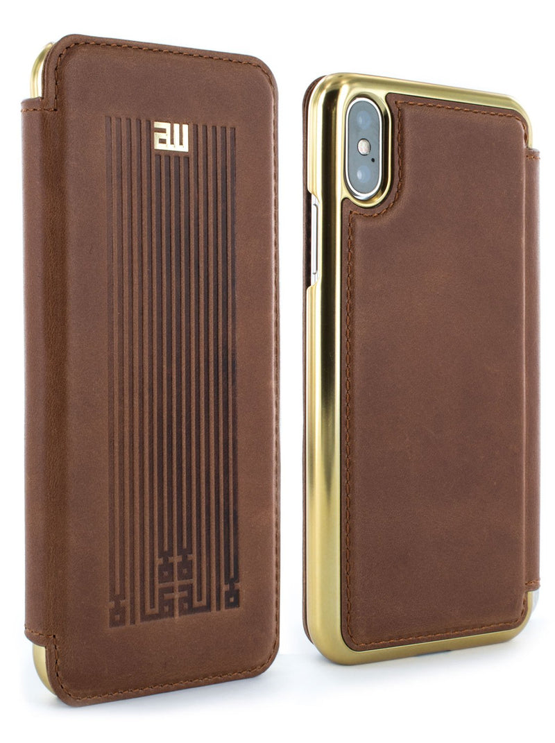 Front and back image of the Greenwich Apple iPhone XS / X phone case in Brown