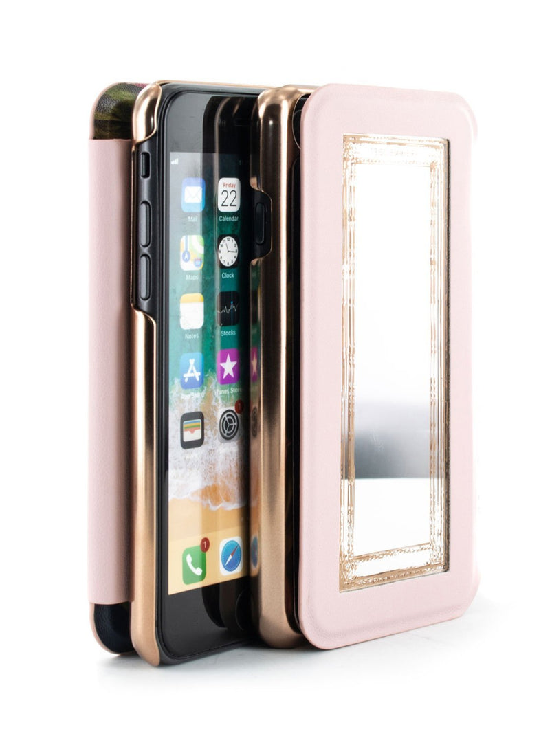 Flip-back front and back image of the Ted Baker Apple iPhone 8 / 7 / 6S phone case in Arboretum Black