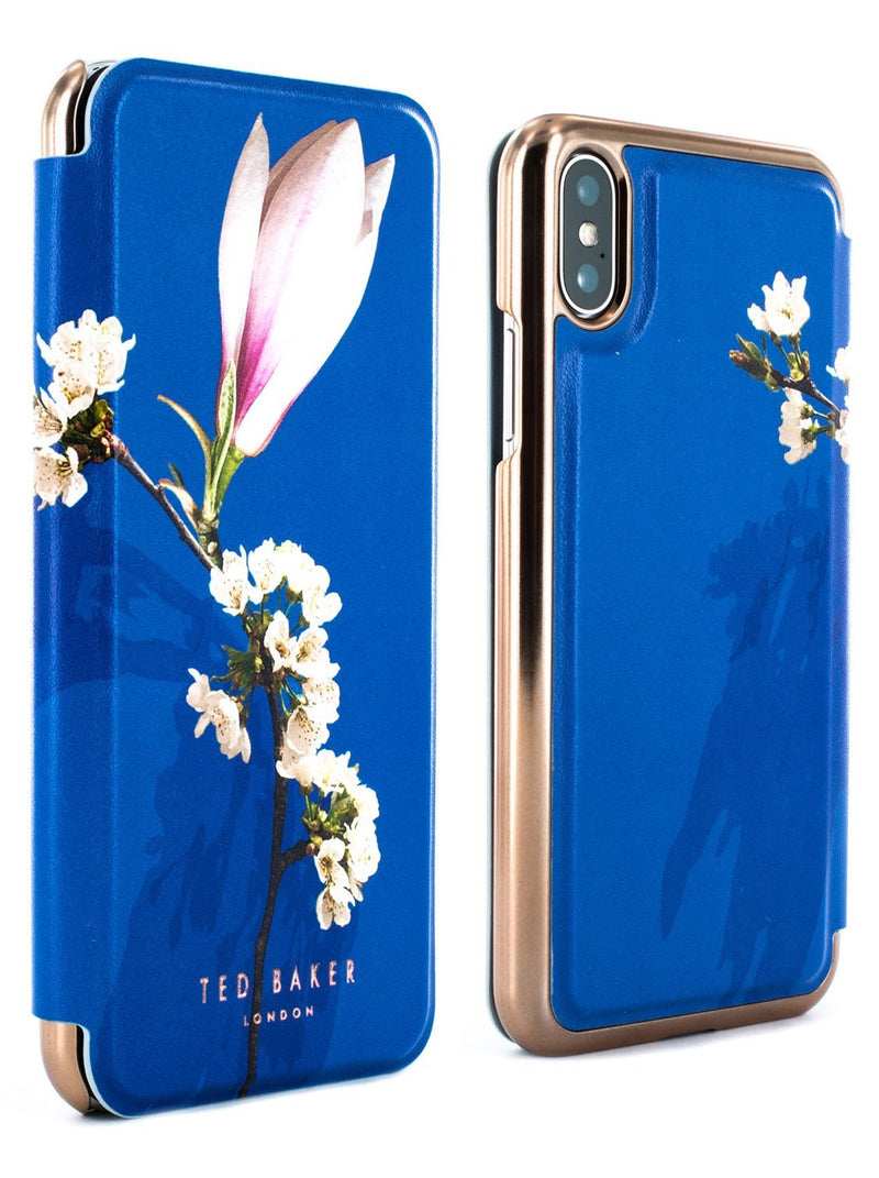 Front and back image of the Ted Baker Apple iPhone XS / X phone case in Blue