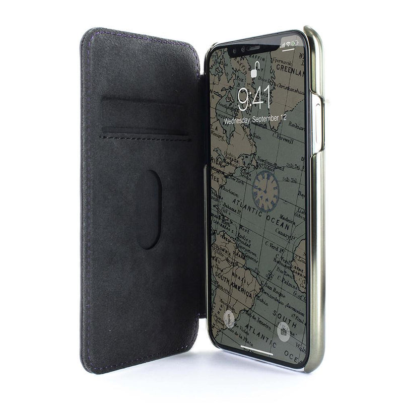 Luxury Handmade Leather Case for iPhone XS Max - Purple / Gunmetal