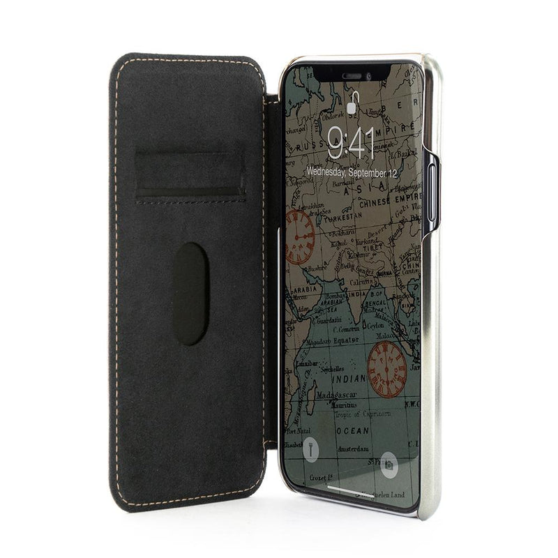 BLAKE Folio with Card Slot for Apple iPhone 11 - Saddle/Gunmetal Electroplated